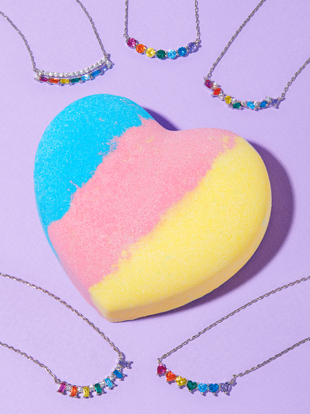 Rainbow Heart Bath Bomb - Rainbow Heart Necklace Collection