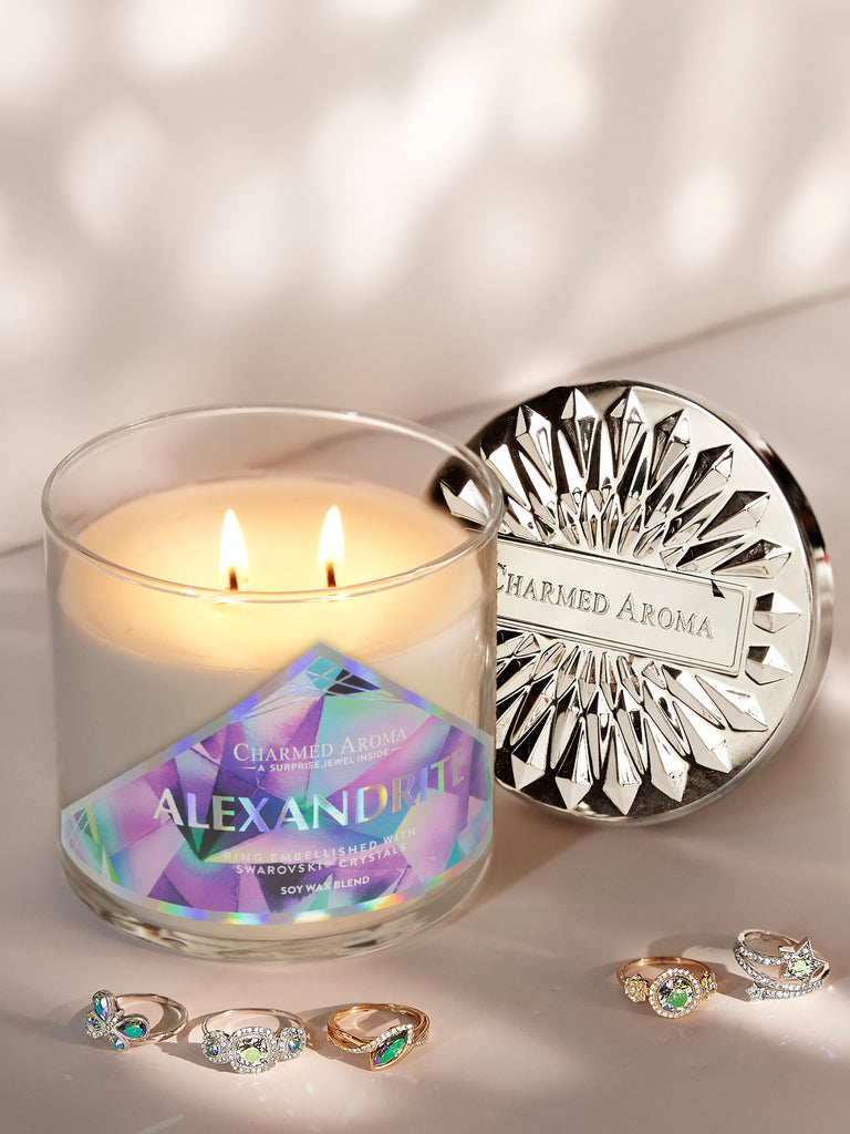 Alexandrite Birthstone Candle - Ring Collection Made With Crystals From Swarovski