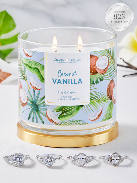 Coconut Vanilla Candle - 925 Sterling Silver Classic Ring Collection