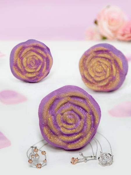 Purple Rose Bath Bomb - Floral Necklace Collection