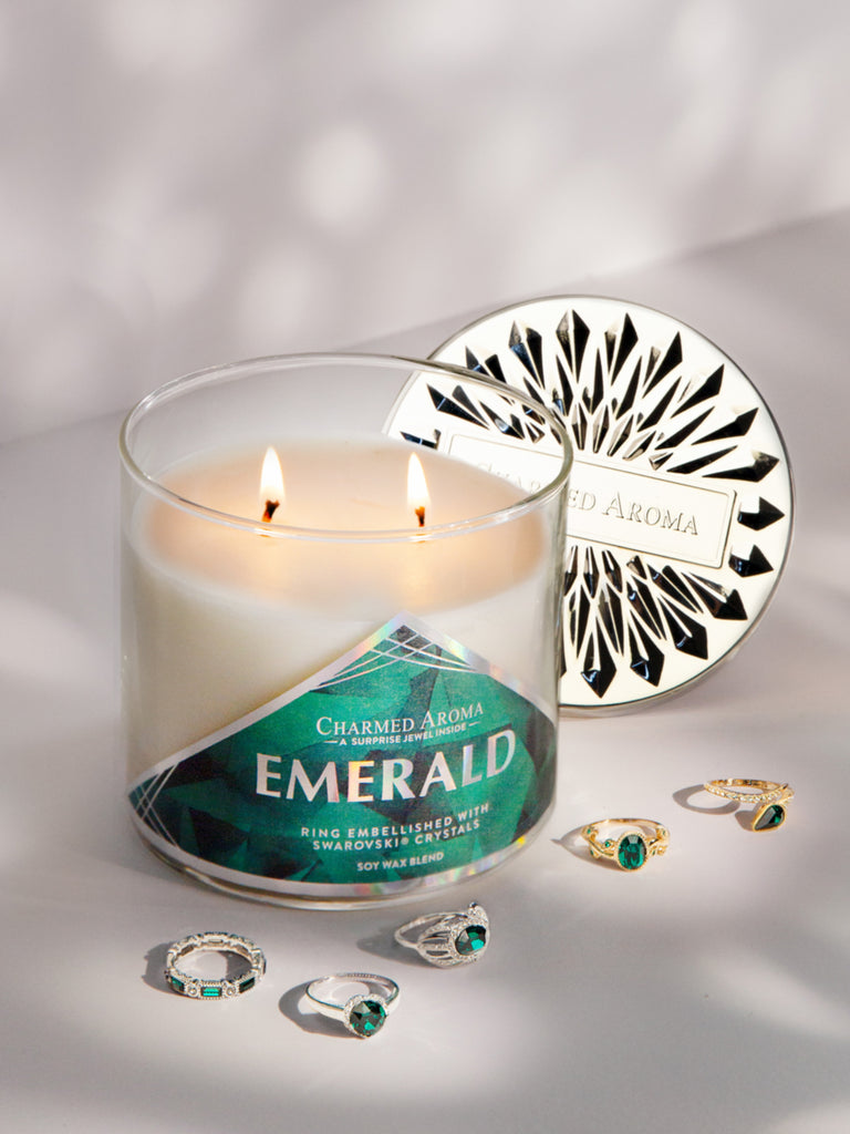 Emerald Birthstone Candle - Ring Collection Made With Crystals From Swarovski