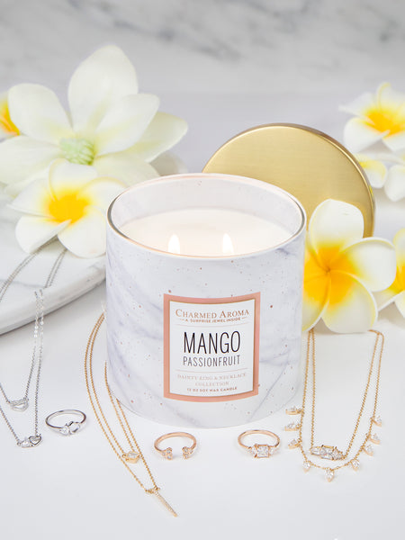 Mango Passionfruit Candle - Dainty Ring & Necklace Collection