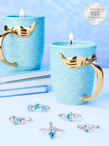 Mermaid Candle - 925 Sterling Silver Under The Sea Ring Collection