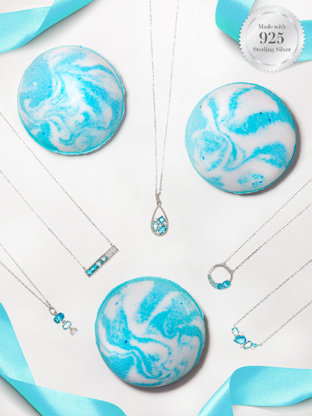 Aquamarine Birthstone Bath Bomb - Aquamarine Necklace Collection