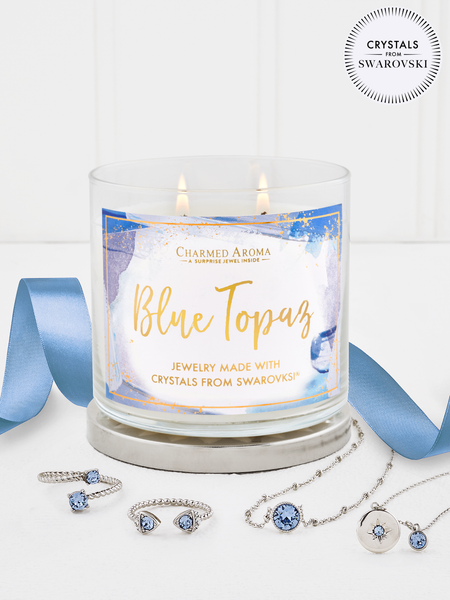 Blue Topaz Birthstone Candle - Jewelry Collection Made With Crystals From Swarovski®