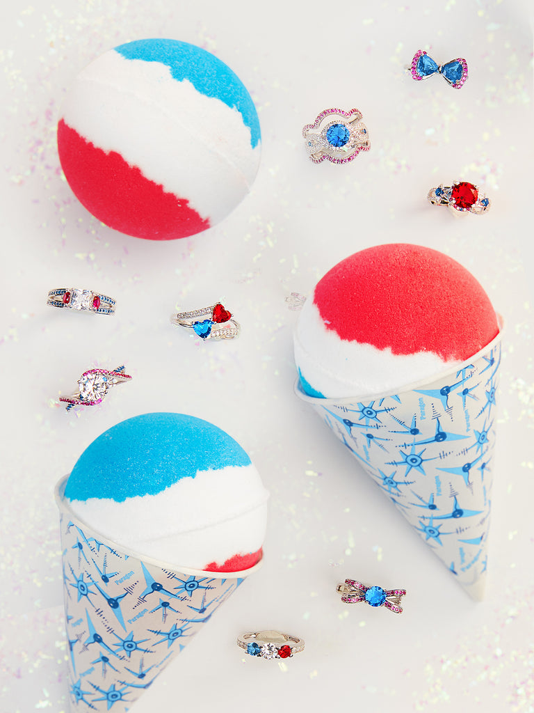 Snow Cone Bath Bomb - Red & Blue Ring Collection