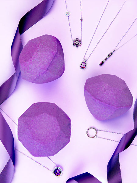 Amethyst Birthstone Bath Bomb - Necklace Collection made with crystals from Swarovski