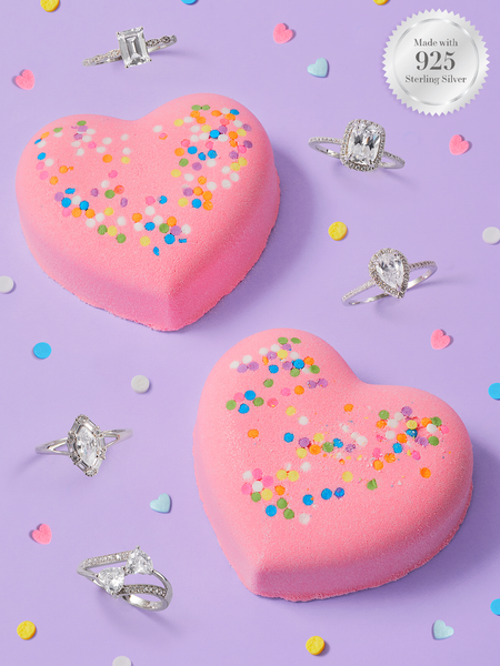 Sprinkled Heart Bath Bomb - 925 Sterling Silver Ring Collection