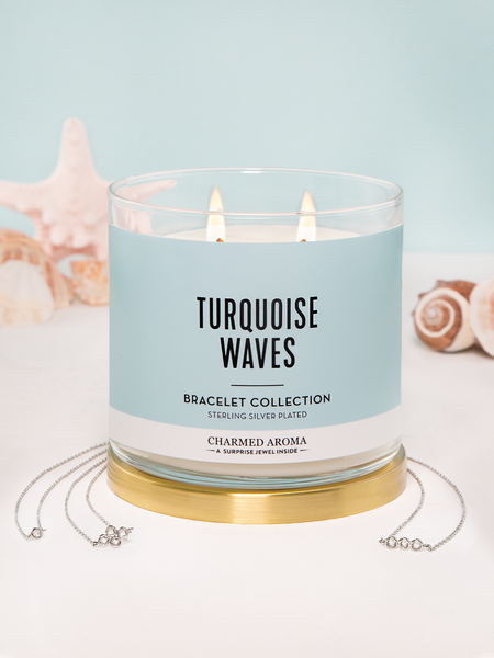 Turquoise Waves Candle - Bracelet Collection