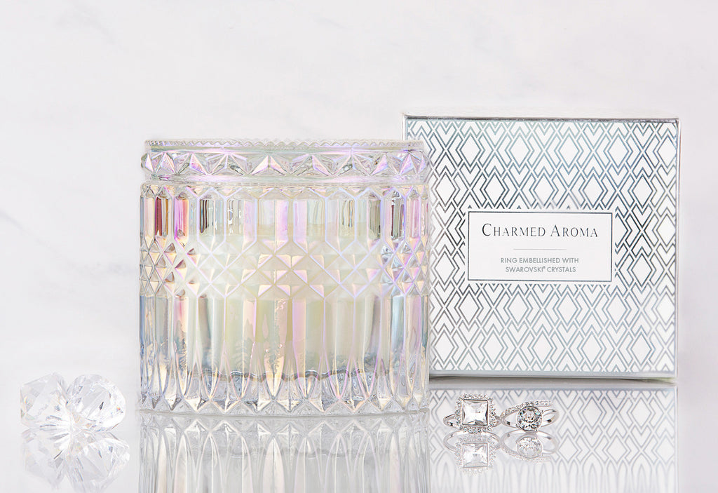 Crystal Collection - Vanilla Macaron Candle. Find a ring embellished with Swarovski Crystals