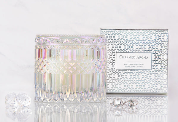 Vanilla Macaron Candle - Ring Collection made with crystals from Swarovski