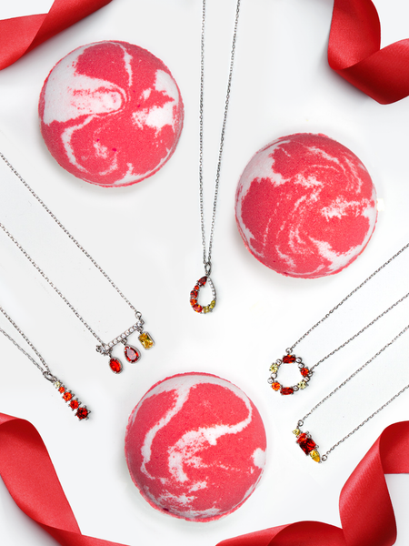 Garnet Birthstone Bath Bomb - Garnet Necklace Collection
