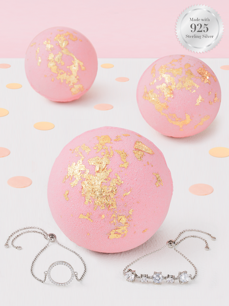 Pink Gold Flake Bath Bomb - 925 Sterling Silver Classic Bracelet Collection
