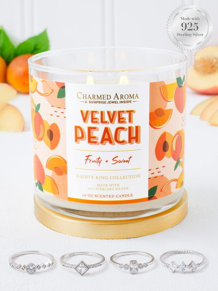 Velvet Peach Candle - 925 Sterling Silver Dainty Ring Collection