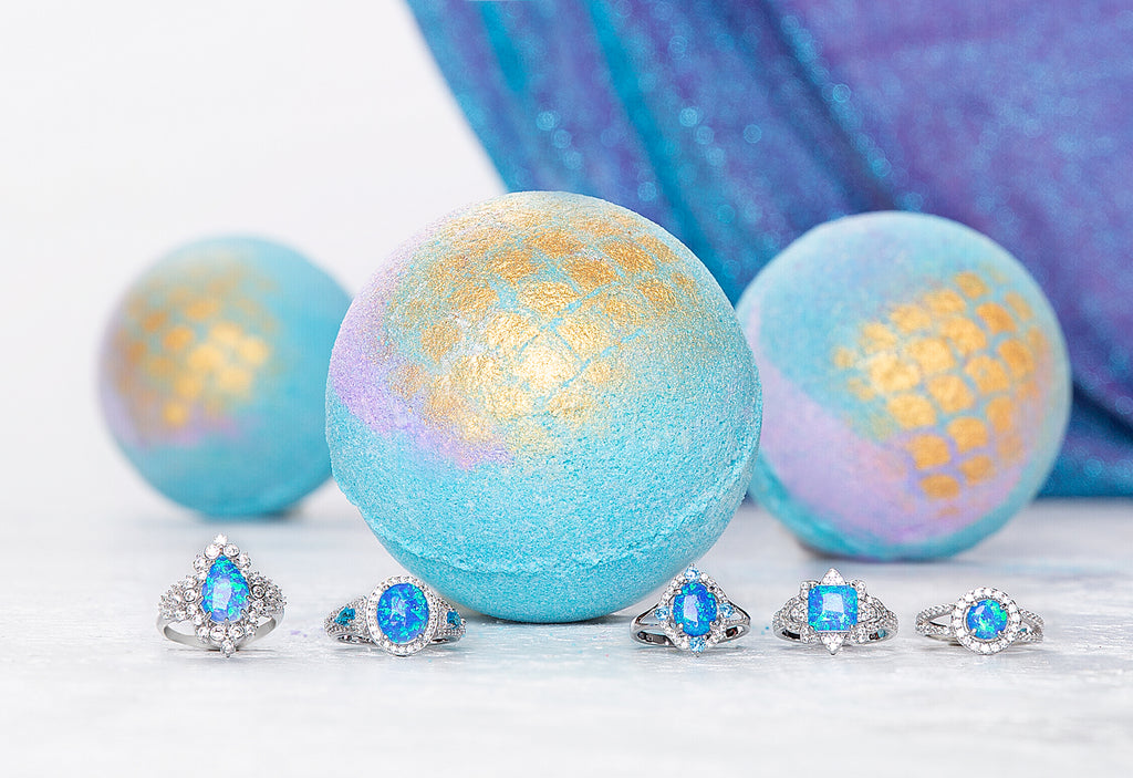 Mermaid Bath Bomb - Blue Opal Ring Collection