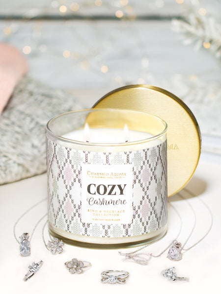 Cozy Cashmere Candle - Matching Ring & Necklace Collection