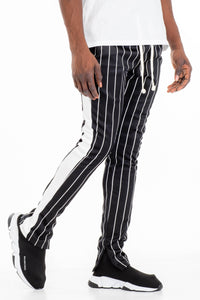Men's pinstripes skinny fit track pants-BLACK