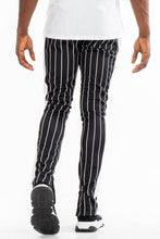 Load image into Gallery viewer, Men's pinstripes skinny fit track pants-BLACK