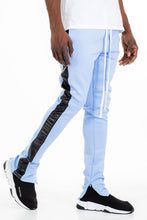 Load image into Gallery viewer, LEATHER TRACK PANTS - LIGHT BLUE