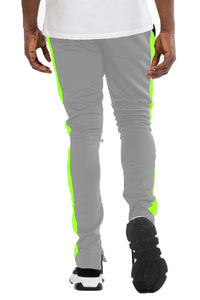 CLASS SLIM  FIT TRACK PANTS- GREY/ LIME