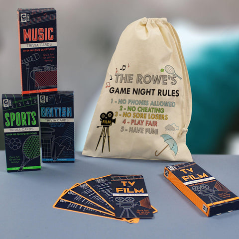 personalised family games night in a bag