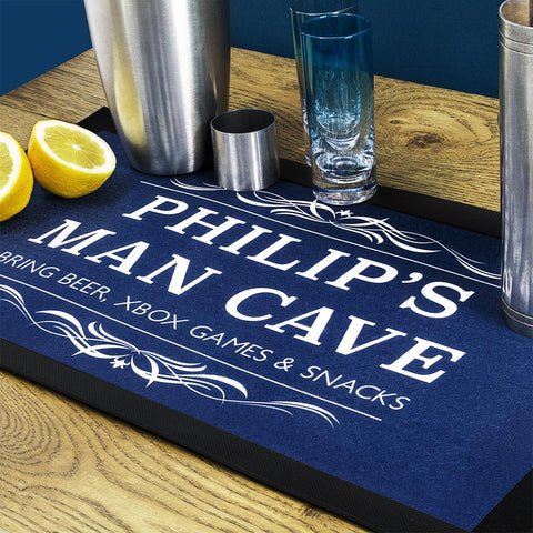 personalised man cave bar mat