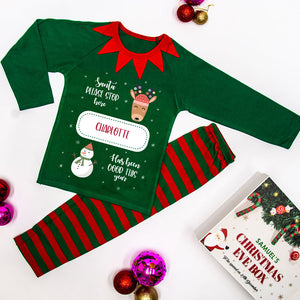 Personalised Christmas Pyjamas Green - Santa Stop Here