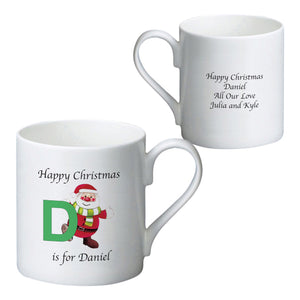 Personalised Initial Santa Bone China Mug