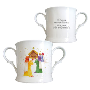 Personalised Nativity Scene Bone China Mug