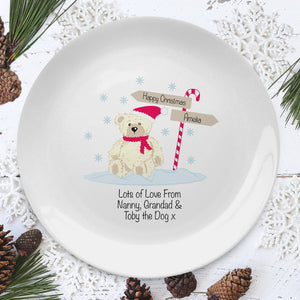 "Personalised Candy Cane Christmas Bear 8"" Coupe Plate"