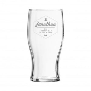 Personalised Hipster Style Coolest Dad Tulip Pint Glass | Bits & Bobbets