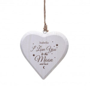 Personalised To the Moon & Back White Wooden Heart | Bits & Bobbets