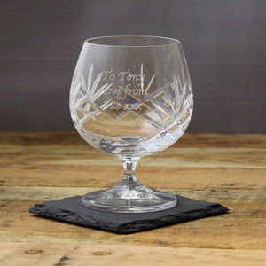 Personalised Crystal Brandy Glasses | Bits & Bobbets