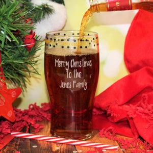 Personalised Merry Christmas Tulip Pint Glass