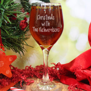 Personalised Merry Christmas Wine Glass
