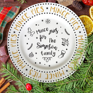 "Personalised Mince Pie Recipe 10"" Rimmed Plate"