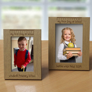 Personalised Wooden First Day Photo Frame | Bits & Bobbets