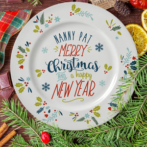 Personalised Wishing You A Merry Christmas Rimmed Plate