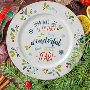 The Most Wonderful Time Of The Year Rimmed Plate