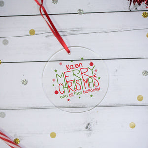 Personalised Merry Christmas Acrylic Decoration