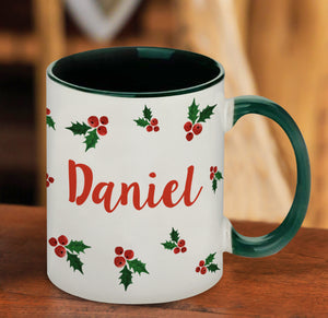 Personalised Name in Holly Green Sublimation Mug