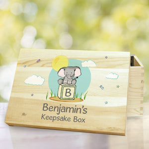 Personalised Cute Elephant Wooden Memory Box | Bits & Bobbets