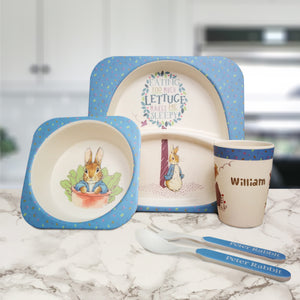 Personalised Peter Rabbit Bamboo Breakfast Set | Bits & Bobbets