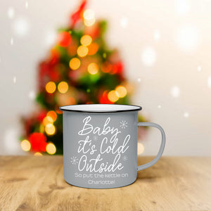 Personalised Baby It's Cold Outside Grey Enamel Mug | Bits & Bobbets