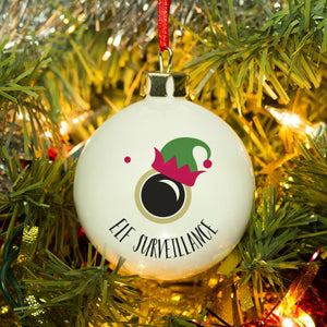 Personalised Elf Surveillance Bauble | Bits & Bobbets
