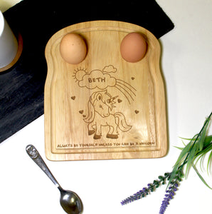 Personalised Unicorn Egg and Soldiers Board | Bits & Bobbets