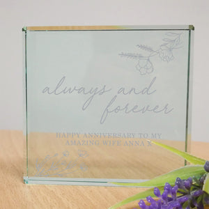 Personalised Always & Forever Engraved Glass Block | Bits & Bobbets