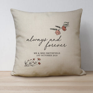 Personalised Always & Forever Linen Cushion | Bits & Bobbets