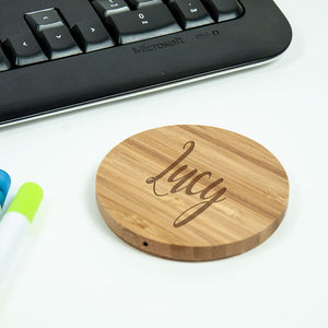 Personalised Bamboo Circular Wireless Charger