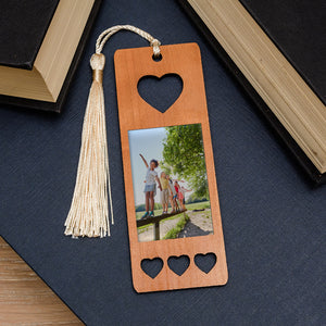 Photo Upload Heart Wooden Bookmark | Bits & Bobbets